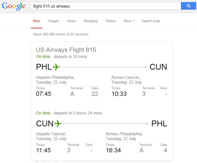 google tips - flight information