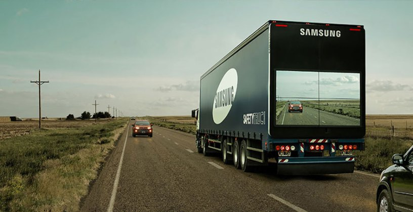 samsung trucks displaying the road ahead on their backs in Argentina