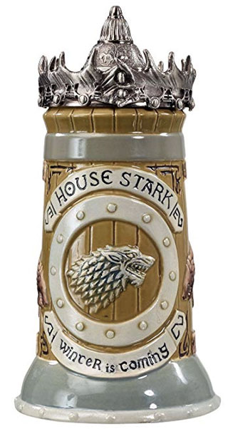 Game of Thrones House Stark Stein – 22 Oz Ceramic Base with Pewter Baratheon Crown Top