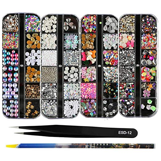 4 Boxes 12 Grids Nail Art Rhinestones + 1 PC Wax Dotting Pen + 1 PC Straight Tweezer Tool Kits 3D Beads Diamonds Resin Stone